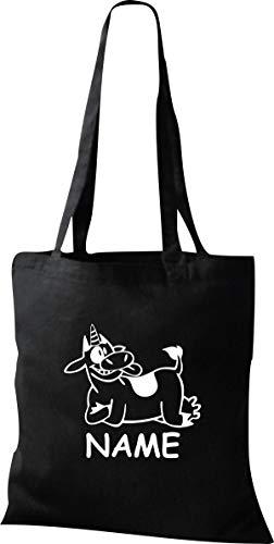 Organique Shopper Drôle Animaux Nom Souhaité Einhornkuh, Licorne, Vache - Noir, 37 cm x 42 cm