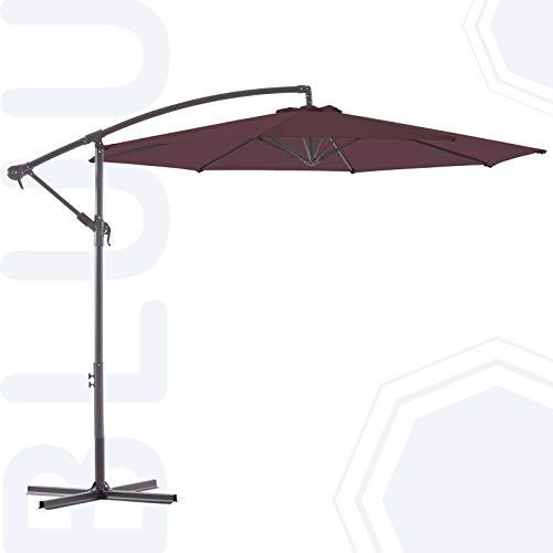 BLUU BANYAN 10 FT Patio Offset Umbrella Outdoor Cantilever Umbrella Hanging Umbrellas, Fade Resistant & Waterproof Solution-dyed Canopy Fabric with Infinite Tilt, Crank & Cross Base (Raisin Purple)