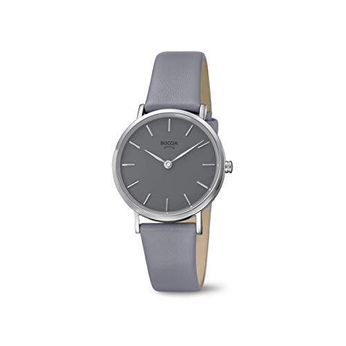Boccia Damen Analog Quarz Uhr mit Leder Armband 3281-03