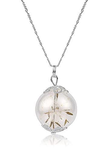 Silber Kette Pusteblumen Anhänger - 925 Sterling - 60cm Echtsilber Halskette - mit Geschenkbox