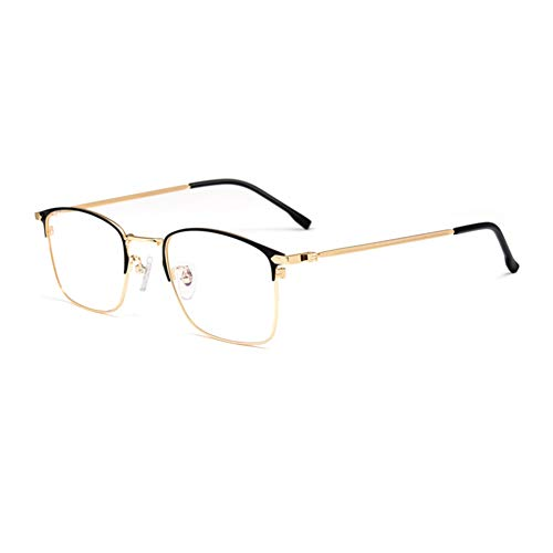 HQMGLASSES Gafas Lectura luz Anti-Azul progresivas progresivas Inteligentes para Hombres, Lentes Resina Alta definición Marcos Negocios aleación Ultraligera Lector dioptrías +1.0 a +3.0,Oro,+1.0