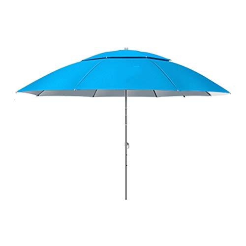 Nologo 2m UPF 40+ Sombrilla de sombrilla de jardín, Inclinación Sombrilla de Playa al Aire Libre Protección Solar Impermeable Azul de Aluminio Poste Plegable para Playa Jardín Pesca Hawaiano