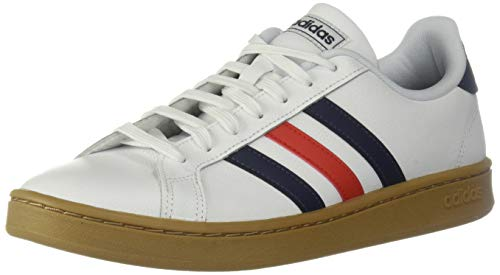 adidas Herren Grand Court Shoes Turnschuh, Weiß/Trace Blue/Active Red, 40 EU