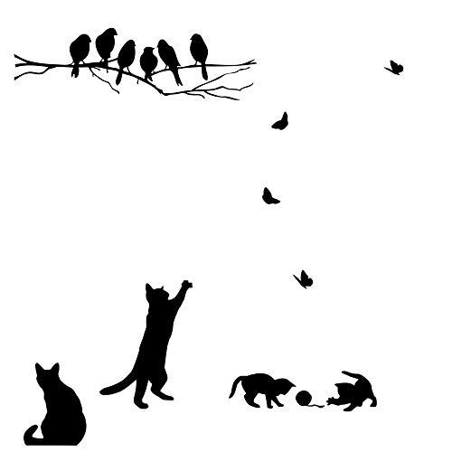 CUNYA 2 set adesivi murali neri carini, gatti che giocano e uccelli sui rami degli alberi Carta da parati murales Decorazioni per la casa per camere da letto, Soggiorno, Finestra