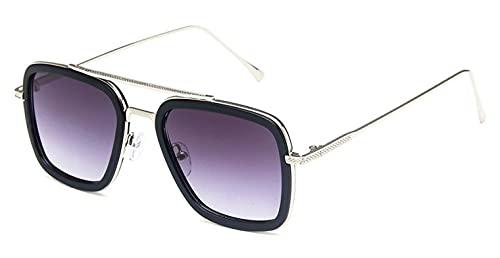 LHSDMOAT Gafas de sol para hombre y mujer, estilo retro Tony, fuertes, gafas de sol vintage de Iron Man, gafas rectangulares, marco de metal, gafas decorativas, montura de gafas
