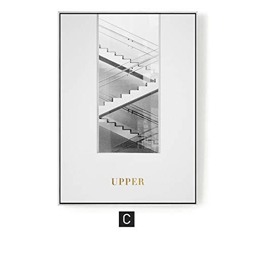 yaoxingfu Arquitectura Abstracta Moderna sin Marco Lienzo ng Monochrom Decoración de Pared Carteles e Impresiones Escaleras para Oficina Studing Room Living Room 40x60cm