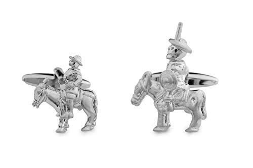 Sologemelos - Boutons De Manchette En Don Quixote E Sancho Panza - Argenté - Hommes - Taille Unique