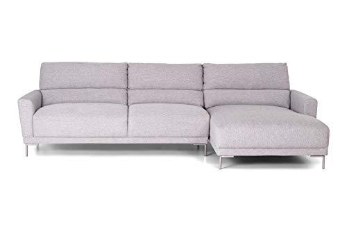 HOMEXPERTS Eck-Sofa MAGELLAN mit 277cm Breite / Polster-Ecke mit Webstoff-Bezug in Hell-Grau / Metall Füße verchromt / Couch mit Longchair rechts / 277 x 86 x 165 cm (BxHxT)