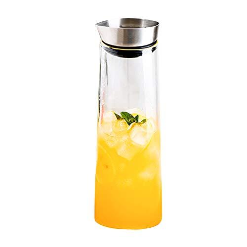 QAX Jarra de Cristal,Botella de Cristal con Cubierta de Acero Inoxidable para Bebidas Caseras Jugo Caliente,1.0L