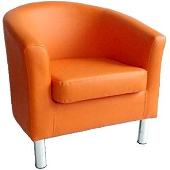 con gambe cromate; per la casa il salotto lufficio la reception color arancione Poltrona moderna in ecopelle