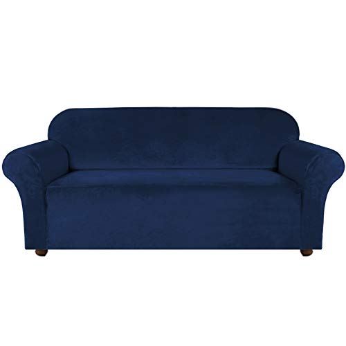 Turquoize Velvet Sofa Slipcover Stretch Couch Covers for 3 Cushion Couch Thick Soft Sofa Cover with Non Slip Straps Furniture Protector, Couch Covers for Dogs, Form Fit Couch Slipcover (Large, Navy)