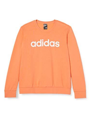 adidas Damen Essentials Linear Hoody Orange (Semi Coral/White), S