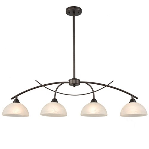 Dazhuan Vintage Frosted Glass Shade Chandelier 4-Lights Pendant Lighting Hanging Ceiling Lamp