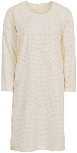 LUCKY Nachthemd Damen Thermo Langarm Punkte Winter Knöpfe, Farbe:Off-White, Größe:2XL