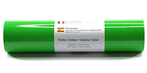 Pellicola autoadesiva per plotter pellicola vinilica 21 cm x 3 m lucido 39 colori a scelta tra cui scegliere, Glänzend L-Serie:Grasgrün