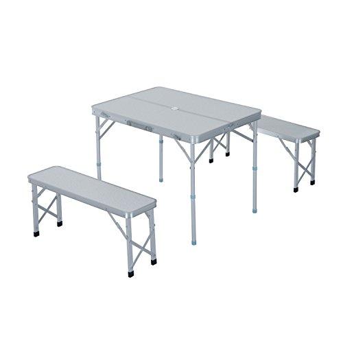 Outsunny 3tlg Campingtisch Set Klapptisch Sitzgruppe Picknicktisch Koffertisch inkl. 2 Bänke Alu + MDF Silber 90 x 66 x (40-70) cm
