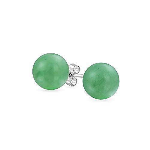 Tisoro Sterling Silver Green Jade Ball Stud Earrings in 4mm, 6mm and 10mm - Jade Earrings - Hypoallergenic Earrings (8mm)