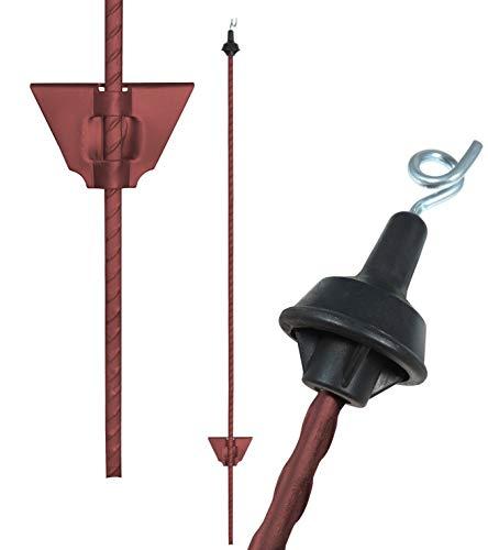 25 x stalen palen van 105 cm, ovaal, roodbruin – draadoogisolator – inlaatdiepte: ca. 20 cm (ca. 85 cm uit de grond) - Made in Germany