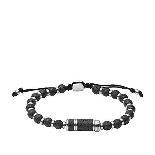 Fossil - Pulsera para mujer con cuentas de acero inoxidable negro, JF03688040