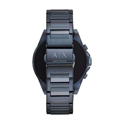A|X Armani Exchange Men's Smartwatch Touchscreen Watch with Stainless-Steel-Plated Strap, Blue, 20 (Model: AXT2003)