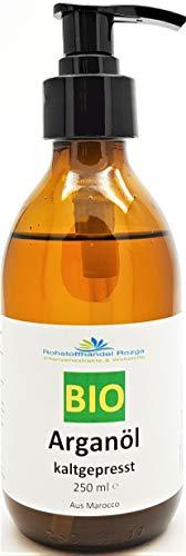 Arganöl BIO 250 ml 100% kaltgepresst in Glasflasche mit Pumpe- Pflegeöl für Gesicht, Haut, Haar, Bart & Nagelhaut