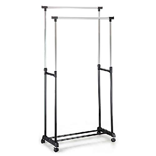 Yaheetech Heavy Duty Clothes Rack on Wheels, Adjustble Garment Clothes Hanging Rail (Double) with Shoe Stand Storage
