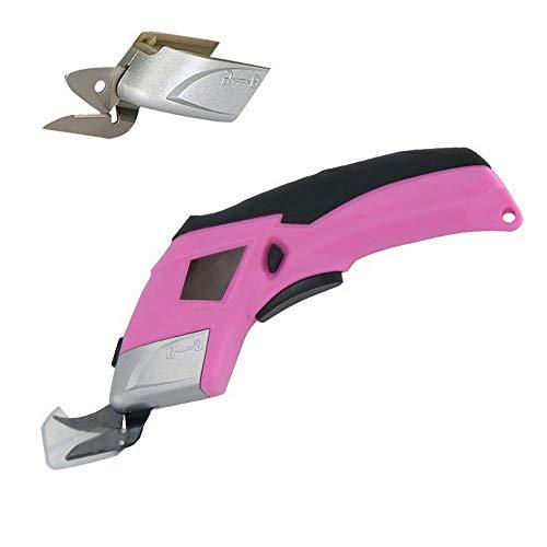 Schnurlose elektrische Scheren,Akku Universalschneider Akkuschere Lederschneider Teppichschere Kartonschneider,Tuch, Papier, Karton Elektrischer Papierschneider Pink