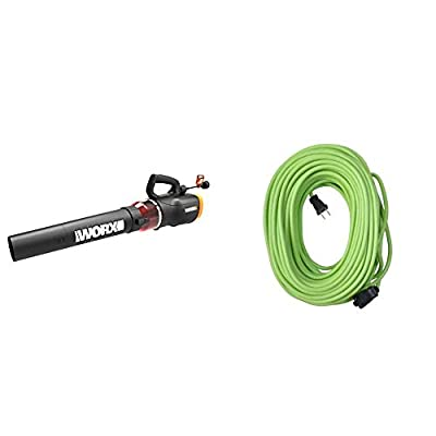 WORX WG520 Turbine 600 Corded Electric Leaf Blower, Black & Yard Master 9940010 Outdoor Garden 120-Foot Extension Cord, Light Duty, Durable 16 Gauge 2 Pronged, Highly Visible, 10 Amps, Lime Green