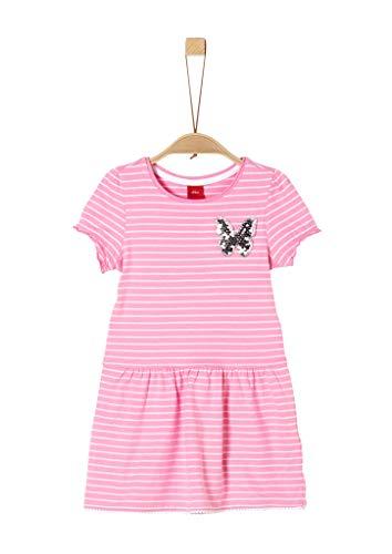 s.Oliver Mädchen Jerseykleid mit Pailletten-Patch pink Stripes 128.REG