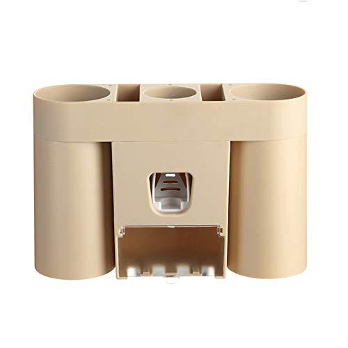 Tandpasta artefact, aan de muur gemonteerde automatische tandpasta knijper voor kinderen, tandpasta tandenborstelhouder,Brown