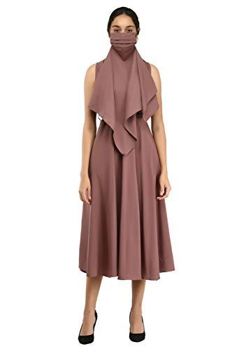 RUDRAKRITI Women's Crepe Solid with Belt Regular Fit Dress (Free...