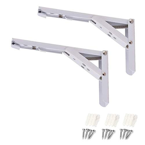 TamBee 8 inch Folding Table Bracket Shelf Brackets Locking Hinges Wall Mounted Heavy Duty Metal Collapsible Triangle Shelf Bracket for Table Work Bench, Space Saving DIY Max Load 110lb White 2Pcs