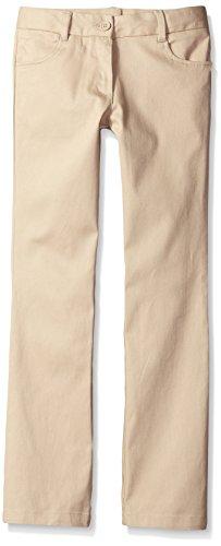 Nautica Big Girls' Uniform Bootcut Twill Pant, Khaki, 12