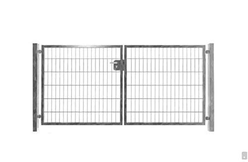 Doppelflügeltor Einfahrtstor Gartentor verzinkt 200cm x 103cm inkl. Pfosten Matten-Tor Hoftor