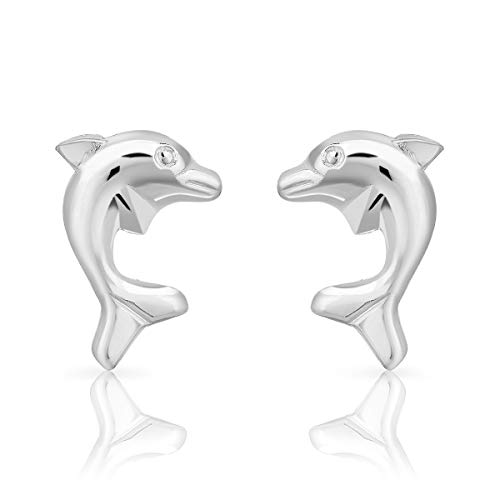 DTPsilver Aretes/Pendientes Pequeños de Plata de Ley 925 - Forma de Delfín - Dimensión: 7 x 10 mm