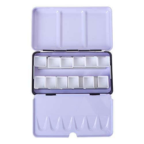 Healifty 12 Gitter Leere Aquarellpalette mit Deckel Einfache Praktische Aquarellpaletten Fallbox