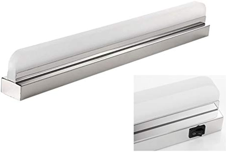 TopDeng Bad Wandleuchte Wasserdicht Einfach LED Spiegel lampe, Edelstahl Wandleuchte Mit Schalter Make-up Schminklicht-Warmes Licht 72cm+16W