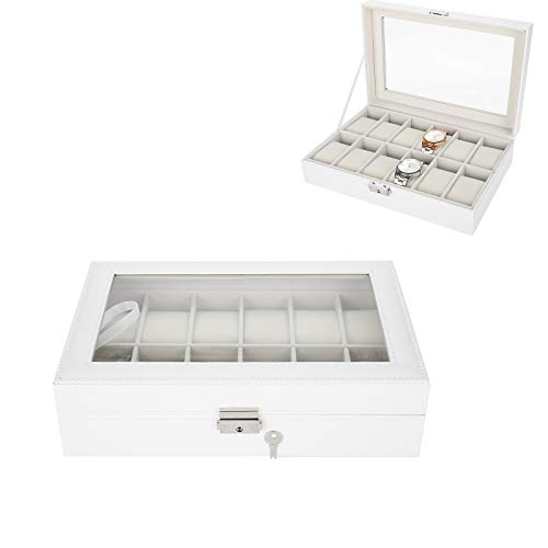 Caja expositora para 12 Relojes con Tapa de Cristal y Forro de Terciopelo extraíble con Cierre de Metal de Piel sintética de Color Blanco