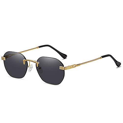 QWKLNRA Gafas De Sol para Hombre Marco Dorado Lente Negra Gafas De Sol Deportivas Polarizadas Gafas De Moda Vintage Retro Gafas De Sol Redondas Pequeñas para Hombres Mujeres Gafas De Sol Rectangula