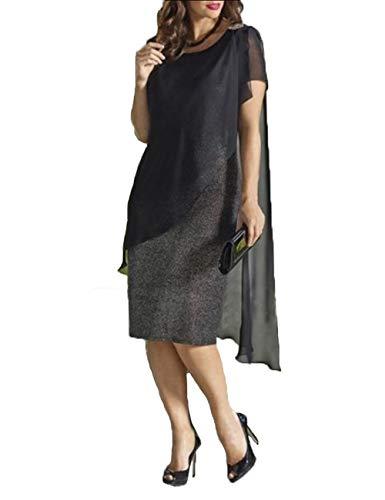 YONGYONGCHONG Chiffon Jurk Ronde hals Rok met korte mouwen Onregelmatige Rok Borduurjurk (roze/zwart) badjas