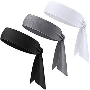 3 Pieces Tennis Tie Headband Sport Dry Head Tie Hair Band Unisex Tie Back Sweatband for Basketball Running Tennis Karate Athletics Workout  Black Dark Gray White