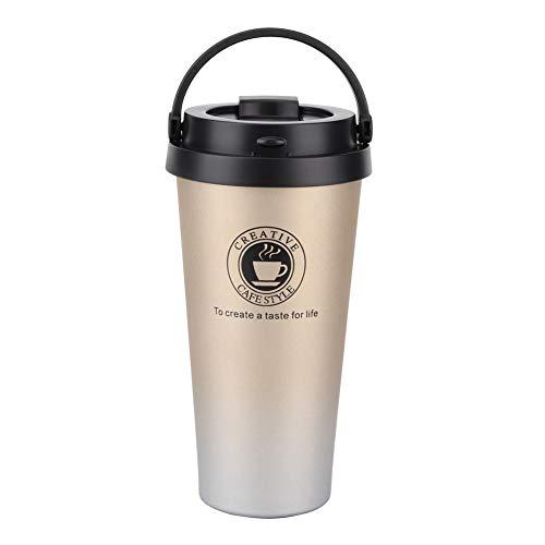 Pelnotac Vaso aislado, taza de café portátil de viaje con tapa a prueba de salpicaduras, material de acero inoxidable para bebidas calientes heladas, 500 ml