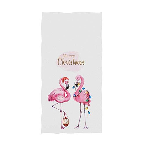 OCEAN AN Moda Hermosa Pareja Flamingo con Gorro de Papá Noel Decoración navideña Invitado Suave Toallas de Mano Grandes para el hogar Multipropósito (15.7'x27.5, Blanco)