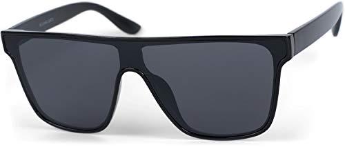 styleBREAKER Unisex Shield Monoglas Sonnenbrille, Polycarbonat Glas und Kunststoff Rahmen, Retro Nerd Style 09020108, Farbe:Gestell Schwarz/Glas Grau getönt