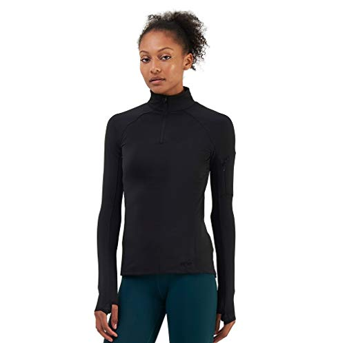 TCA Competitor Half Zip Damen Laufshirt mit Kragen - Langarm - Schwarz, S