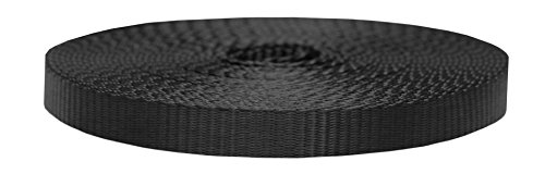 Strapworks Colored Flat Nylon Webbing - Strap for Arts and Crafts, Dog Leashes, Outdoor Activities – 3/4 Inches x 10 Yards, Black