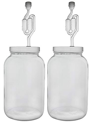 Home Brew Ohio One gallon Wide Mouth Jar with Drilled Lid & Twin Bubble Airlock-Set of 2 Limited Edition