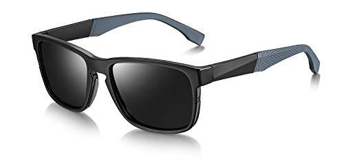WHCREAT Herren Klassisch Polarisierte Sonnenbrille UV400 Schutz mit Ultraleichter TR90 Rahmen (Schwarzer Rahmen - Schwarze Linse)