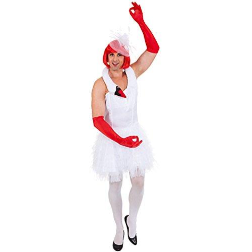 Männerballett weißer Schwan Kleid für Herren Fasching Karneval Schwanen Kostüm (54/56)