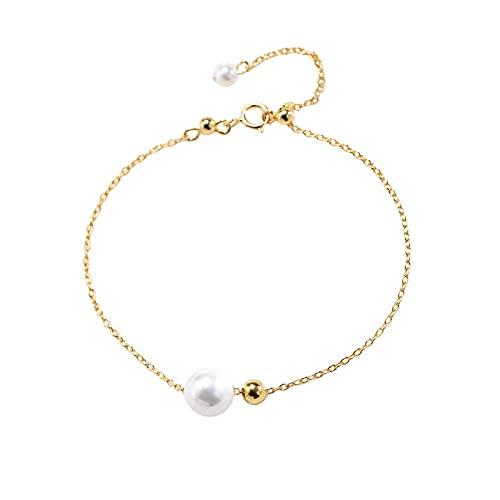 Pulsera Mujer Personalizada, Pulsera de Mujer de Perla Cultivada de Agua Dulce Blancas Cadena de Plata de Ley de 925 Milésimas Bañada en Oro, Temperamento Pulsera Ajustable Simple